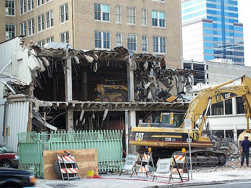 Demolition on Adam St. downtown Jacksonville Florida